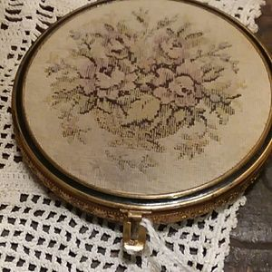 Vintage Antique Embroidered Tapestry  Compact